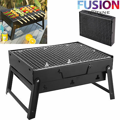 Portable Bbq Grill Stand Rectangular Garden Patio Camp Barbeque Charcoal Table