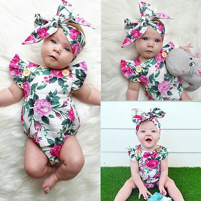 Baby Girls Summer Floral Bodysuit Romper +Headband Kids Clothing Outfits Sunsuit