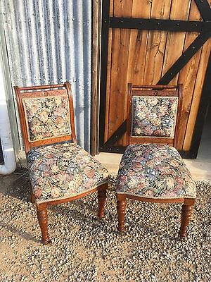 antique Carved Back Chairs (pair)