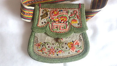 RARE ANTIQUE CHINESE QING 19th c CHINESE PURSE with belt