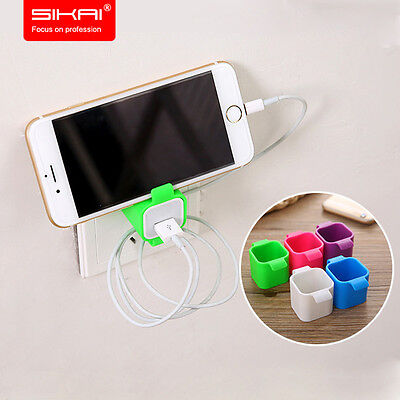 Universal Wall Mount Stand Cradle Phone Charger Holder for iPhone + cable winder