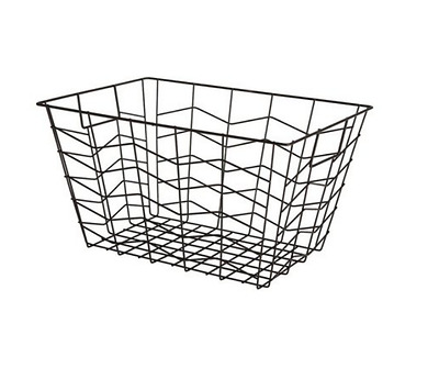 Wire Metal Basket Hamper Storage Rectangular Laundry Clothes Toys Holder Black