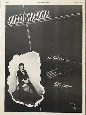 """Johnny Thunders So Alone Original Advert 16 X 12"""" Poster Size 7 Oct 1978"""