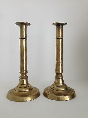 Antique Pair of 18th Century 22cm Tall Brass Ejector Candlesticks