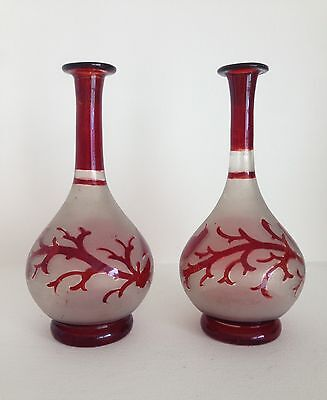 A Pair of Hand Blown Red Etched Bohemian Glass Vases