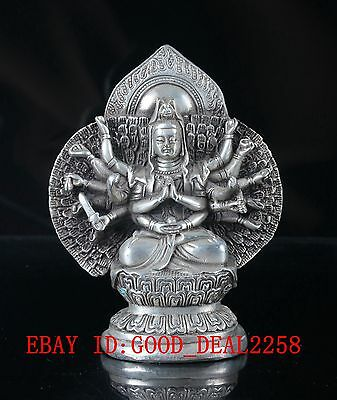 Old Tibet Silver Copper Handwork  Carved Kwan-Yin Statue With Qianlong Mark
