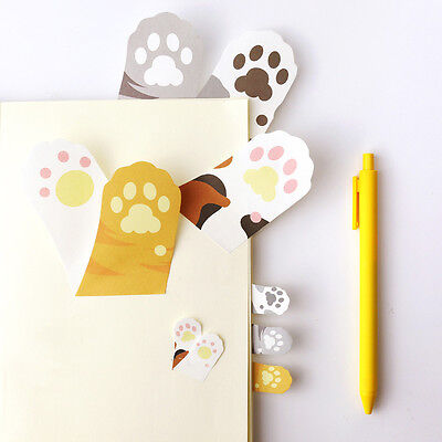 Cute Cartoon Meow Kitty Cat Paw Prints Memo Pad Sticky Note Page Marker Planner