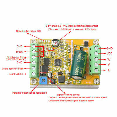 350W 5-36V DC Brushless motor Controller BLDC Three-phase Driver board 12V 24V