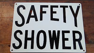REAL Vintage Safety Shower Heavy Metal Sign Industrial Warehouse Factory #3