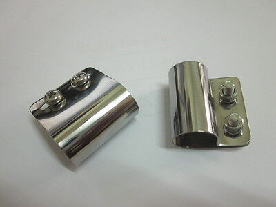 Pair x Stainless Desmo style Badge Bar Clips 19mm for Classic Car Quality BR19