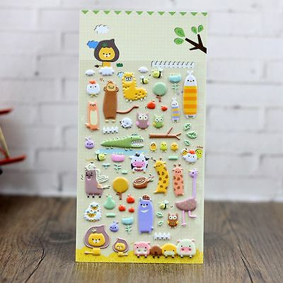 Photo Album Cartoon Scrapbooking Cute Diary Puffy Stickers Animals Zoo 3D