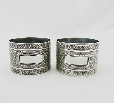 Quality Pair Of Solid Silver Napkin Rings Birmingham 1944