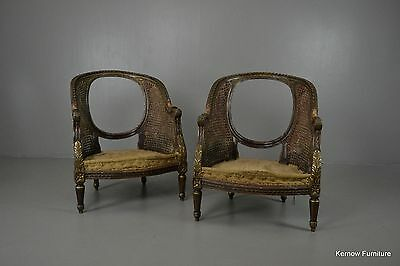 Pair Antique Deconstructed French Louis XVI Style Bergere Cane Giltwood Chairs