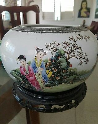 VINTAGE  ANTIQUE CHINA CHINESE PORCELAIN BOWL VASE 3 scenes