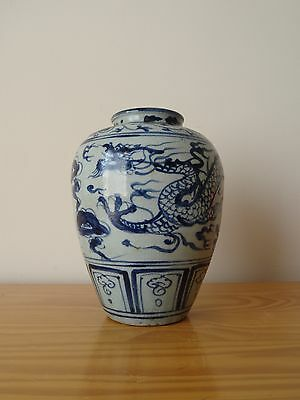 c.16th- Antique Chinese Ming Blue And White Porcelain Dragon Pot Vase - Tian