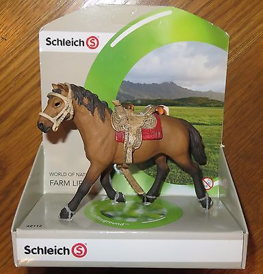 New SCHLEICH World of Nature FARM LIFE Brown HORSE in SADDLE No Rider #42112