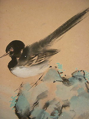 Vintage-Japanese Painting- Bird On Rock- 2 Seals Of The Artist.