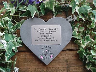 Personalised Patch Teddy Memorial Stone Heart / Grave Marker for Garden/Cemetery