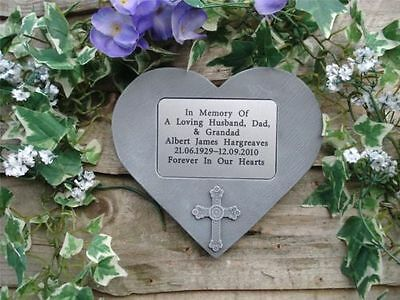 Personalised Stone Cross  Memorial Heart / Grave Marker for Garden or Cemetery