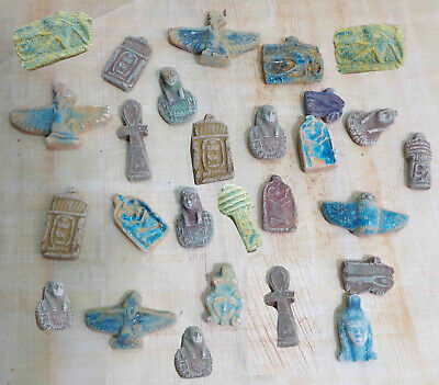 Rare Unique Collection Set of 12 Ancient Egyptian Statuettes Amulets Plaques