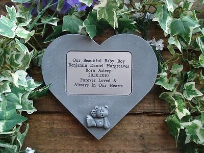 Personalised 3D Teddy Bear Design Stone Memorial Heart / Grave Marker