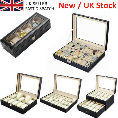 24 20 12 6 Grids Slot PU Leather Watch Case Storage Display Box Organiser UK NEW