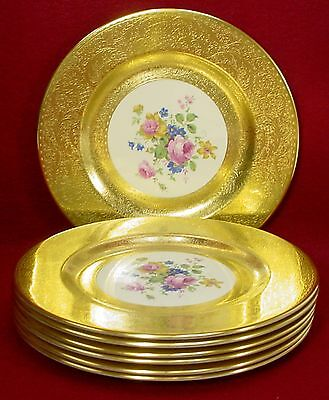 PICKARD china 2023 pic33 pattern GOLD ENCRUSED SERVICE or DINNER PLATE set of 7