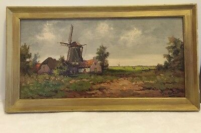 Vintage Dutch Impressionist Windmill Landscape Oil Painting on Board Signed Toll