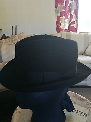 Fantastic Vintage Royal Stetson   Campbell Brown Carlsle Black  Fedora Hat 7