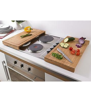 Set 2 Bamboo Worktop Cooker Hob Covers Chopping Boards