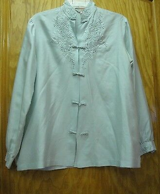 Gorgeous Vintage Peacock Chinese Silk Hand Embroidered Jacket Top Size 36 Medium