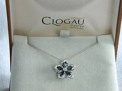 Clogau Silver & 9ct Rose Welsh Gold Forget Me Not Pendant RRP £149.00