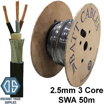 Building Materials & Supplies Business, Office & Industrial BW20s Gland Pack FREE P&P 1.5mm 3 Core SWA Steel Wire Armoured Cable 50M BASEC