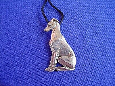 Whippet Greyhound Sitting necklace #13F Pewter Dog Jewelry by Cindy A. Conter