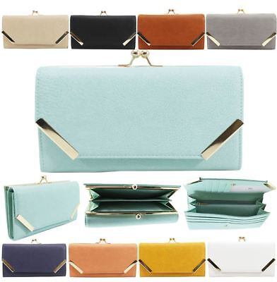 New Womens Faux Leather Metallic Detail Elegant Large Purse Wallet