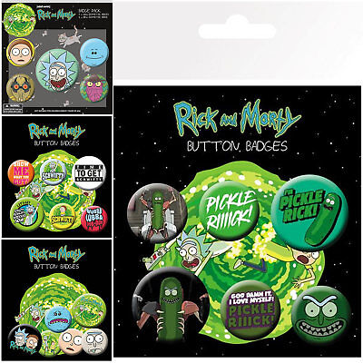 New Rick and Morty 6 Pack Badges GBEYE Gift UK Adult Swim Anime Cartoon