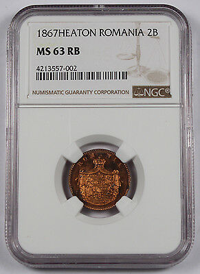 Romania 1867 H Heaton 2 Bani Copper Coin NGC MS63 RB Red Brown Carol I