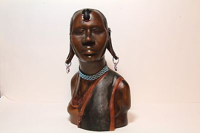 Maasai Woman African Hand Carved Wooden Large Bust Sculpture Kenya Tanzania