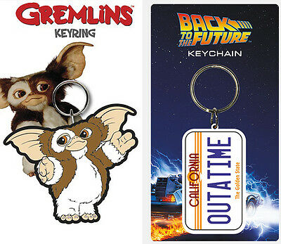 New Official 80's Movie Keyring Keychain Retro Licensed UK Gizmo Gremlins Cult