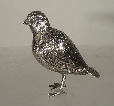 Antique Sterling Silver Bird Salt Shaker Hallmarked Export German Spanish Grouse