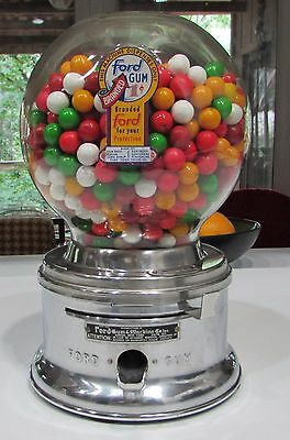 VINTAGE ONE CENT Ford Gum Ball Machine Penny gumball Vending no key