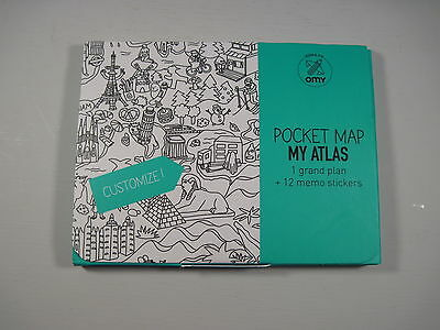 OMY Pocket Map My Atlas Stick Note Colour BRAND NEW & SEALED