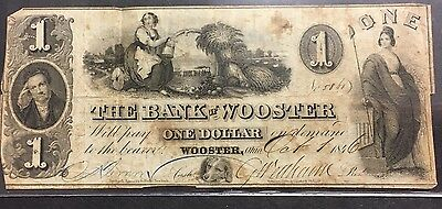1846 Obsolete $1 Note The Bank Of Wooster - Wooster , Ohio