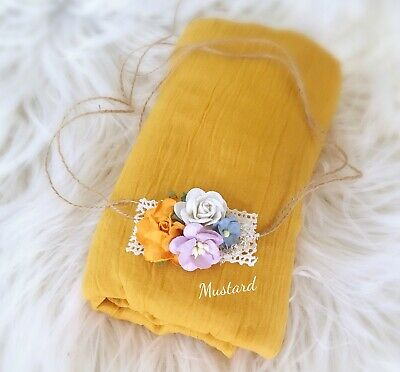 Soft Cheesecloth Wrap Swaddle Headband Baby Newborn Photography Prop In Mustard