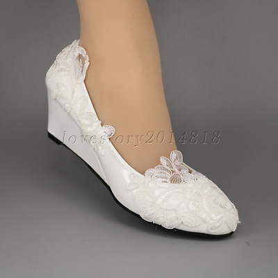 White rose lace Wedding shoes flat low high heel wedges flower bridal size 5-10