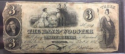 1846 Obsolete $3 Note The Bank Of Wooster - Wooster , Ohio