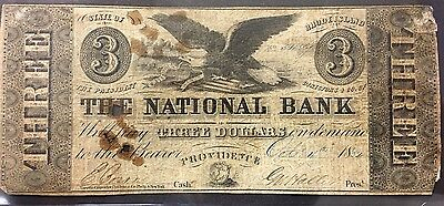 1854 Obsolete $3 Note - The National Bank - Providence , Rhode Island