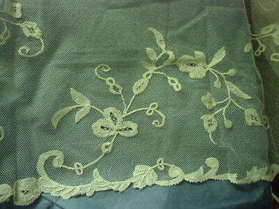 """Antique lace trimming EDGE HANDMADE French Valenciennes lace 54"""" x 9 1/2"""""""