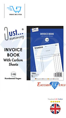 Full Size A5 Invoice Duplicate Receipt Book Numbered Cash 1 - 80 Pages Pad NEW
