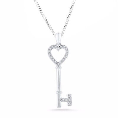 """Holiday Sale 1/8 Ct Real Diamond Heart Key Pendant Sterling Silver 18"""" Chain"""